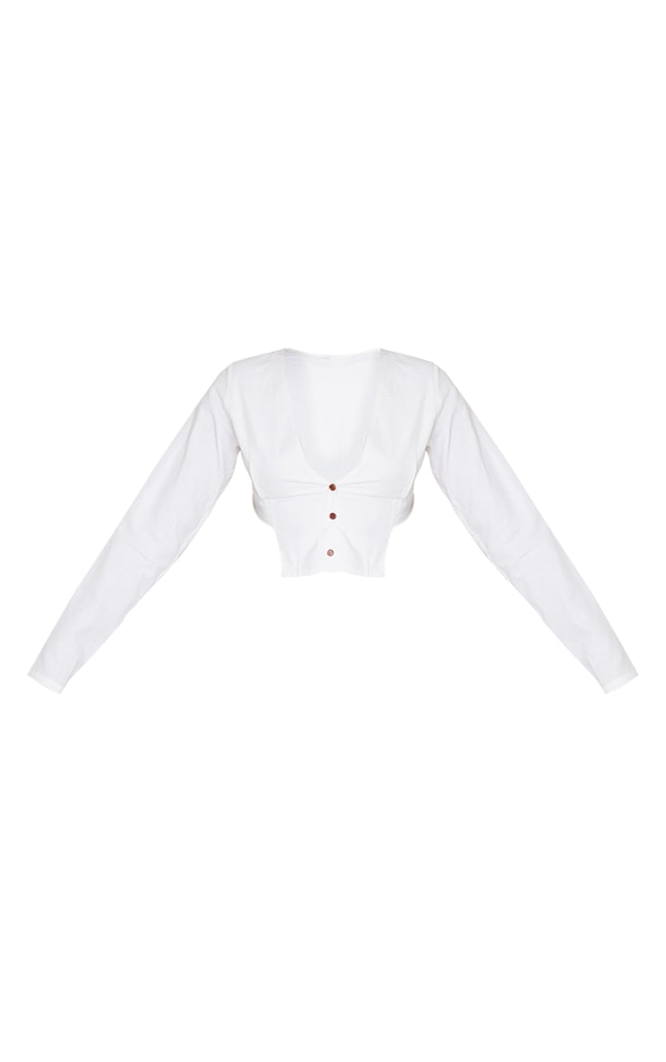 White Linen Feel Shoulder Pad Button Front Long Sleeve Crop Top 5