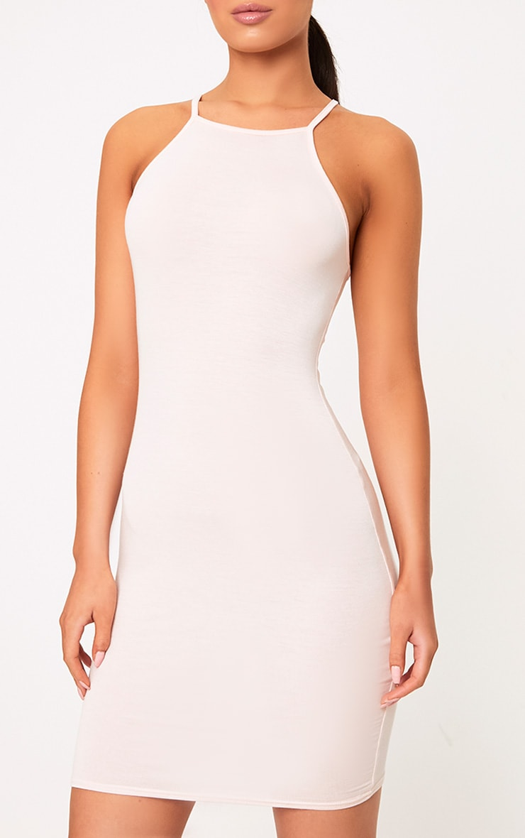Basic Nude Jersey High Neck Bodycon Dress 5