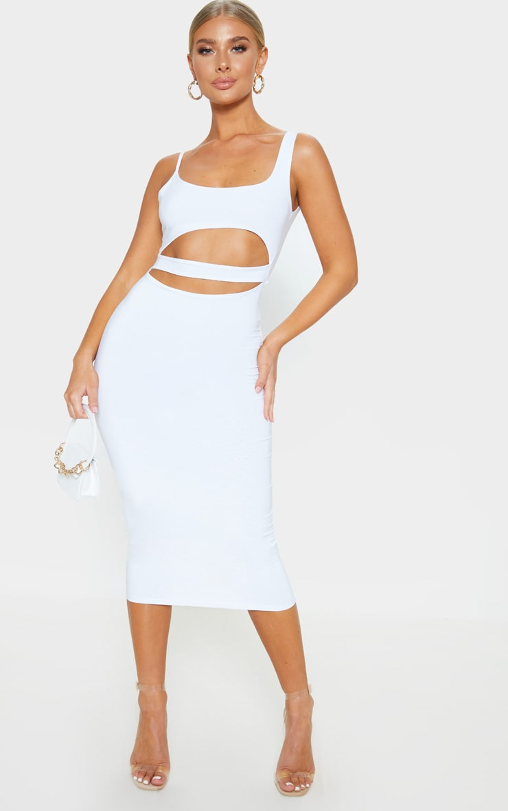 White Slinky Cut Out Detail Midi Dress 4