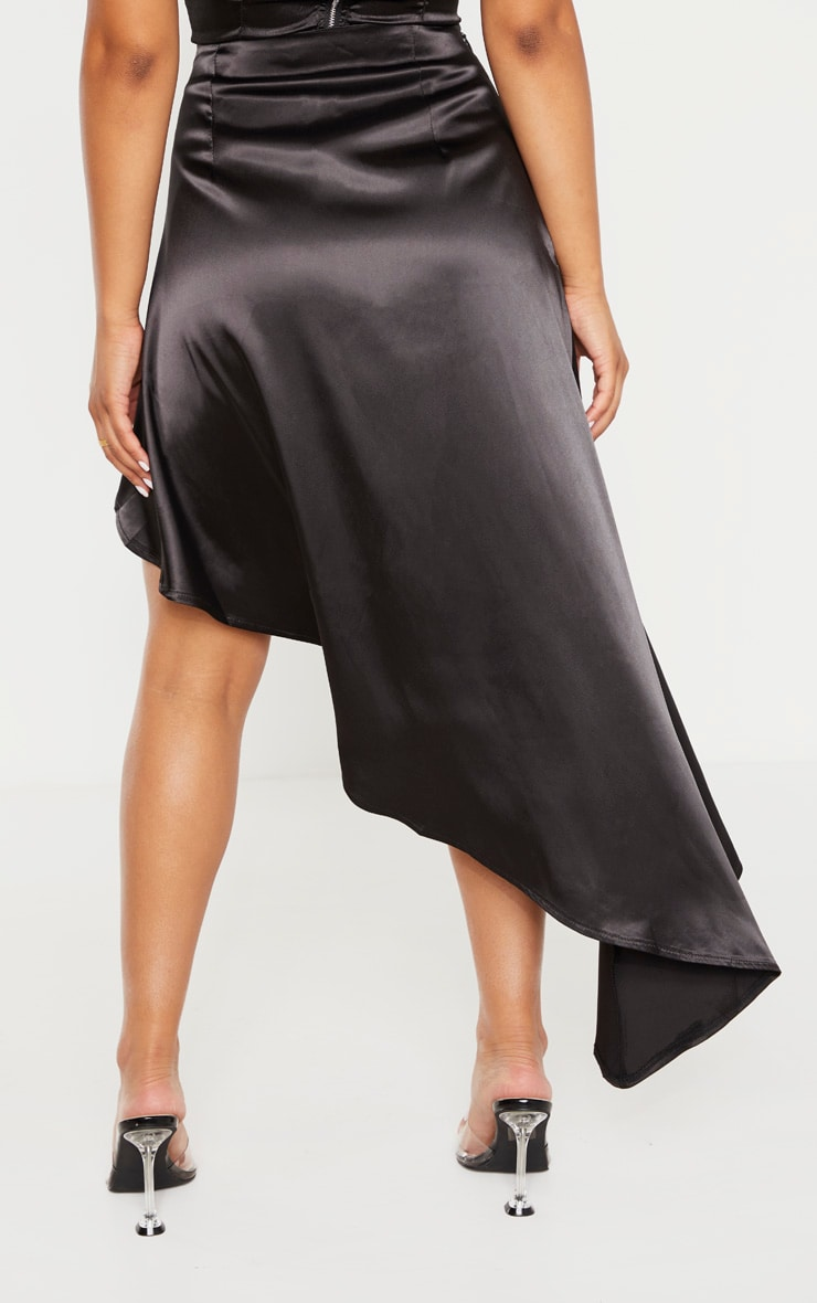 Petite Black Satin Asymmetric Skirt 3