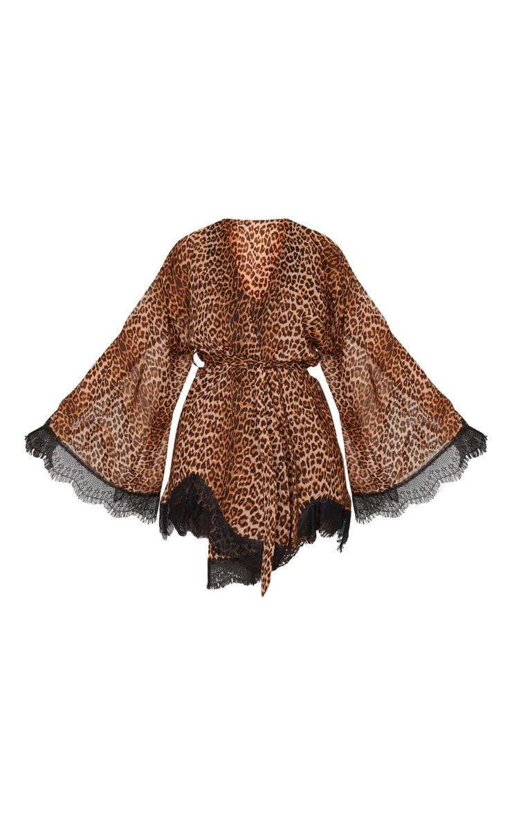 Leopard Print Lace Detail Robe 1