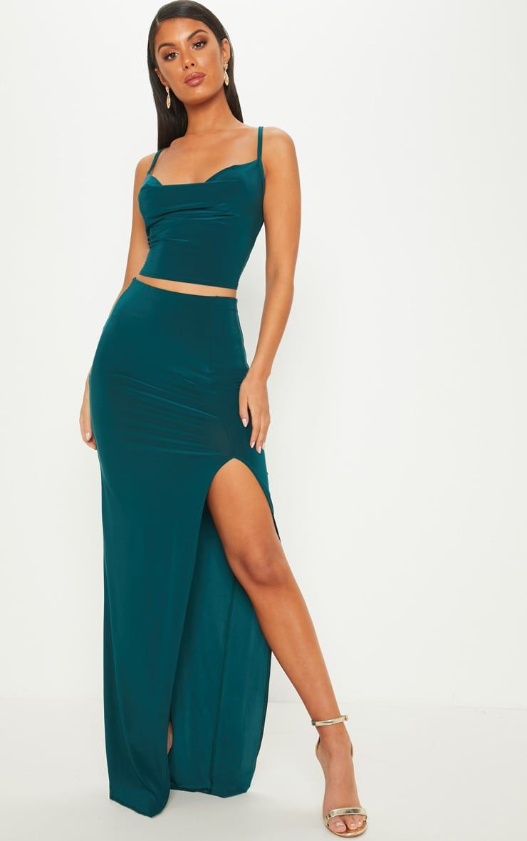 Emerald Green Cowl Neck Crop Top 4
