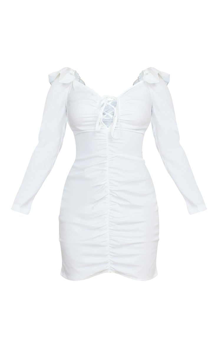 Petite Cream Ruched Shoulder Bodycon Dress 5