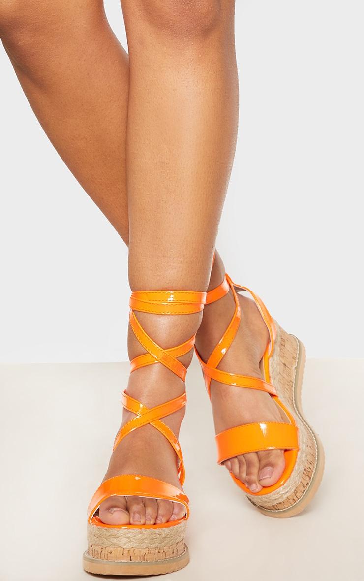 Orange Neon Flatform Espadrille Sandal 2