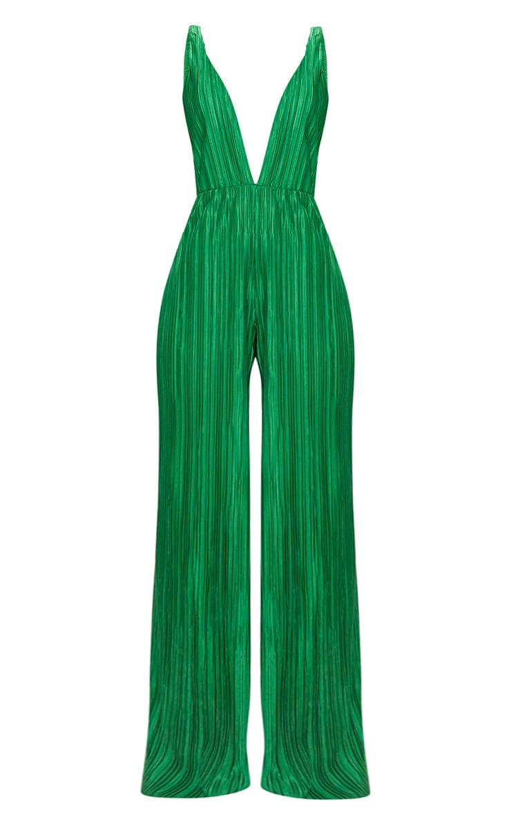 Green Plisse Plunge Strappy Jumpsuit 3