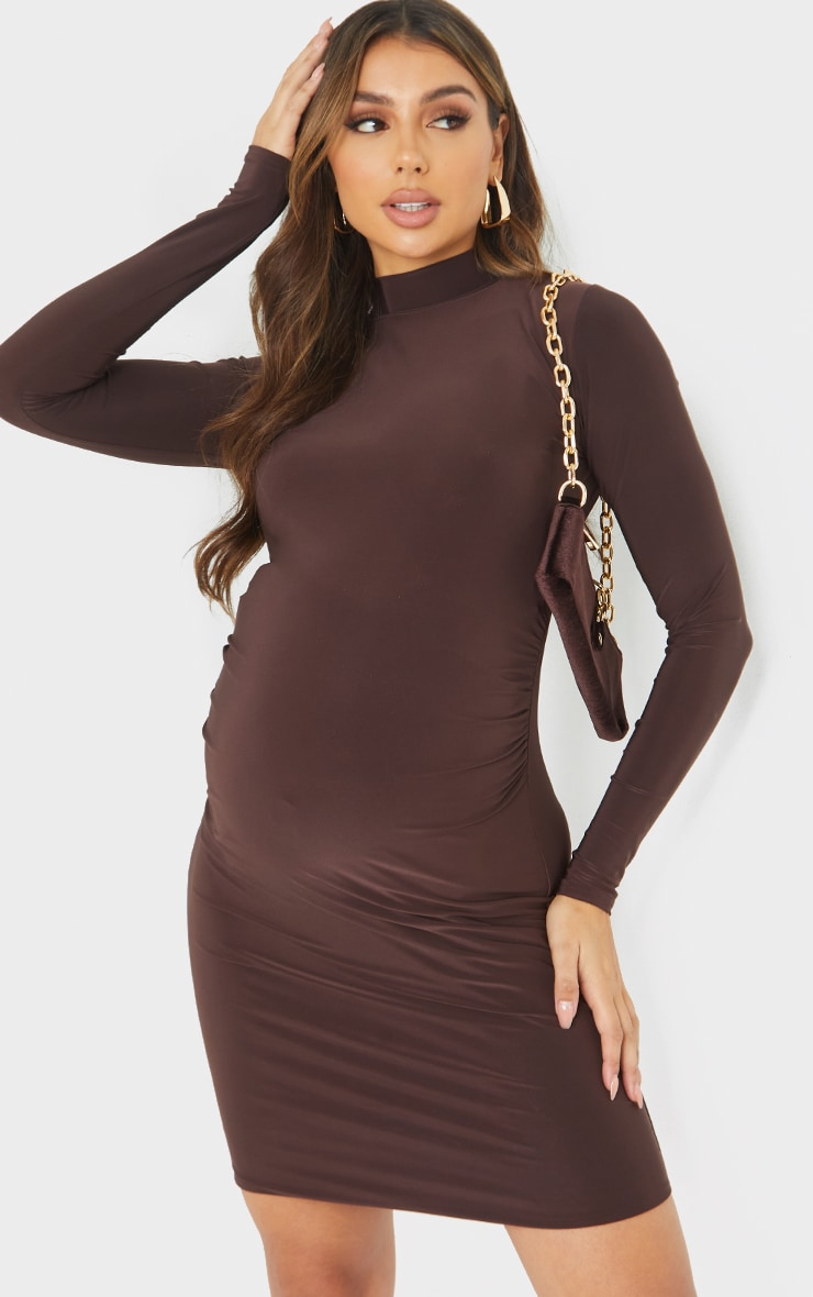 Maternity Chocolate Slinky High Neck Bodycon Dress