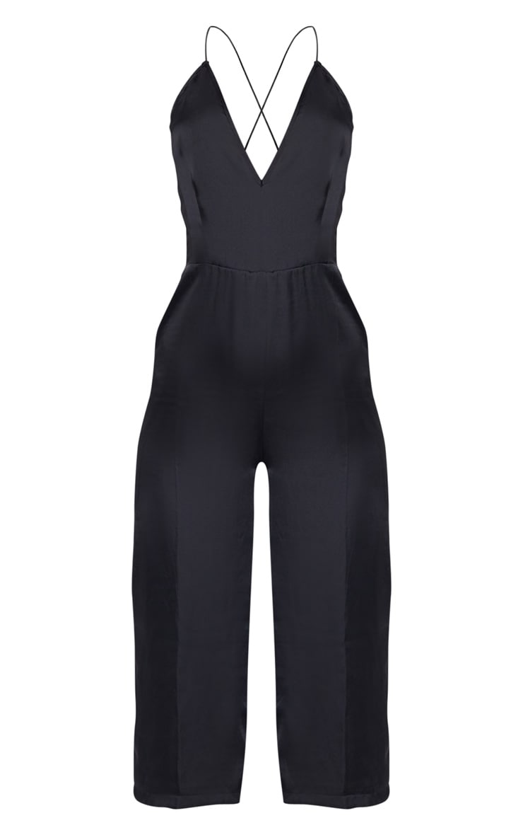 Black Strappy Back Plunge Culotte Jumpsuit 3