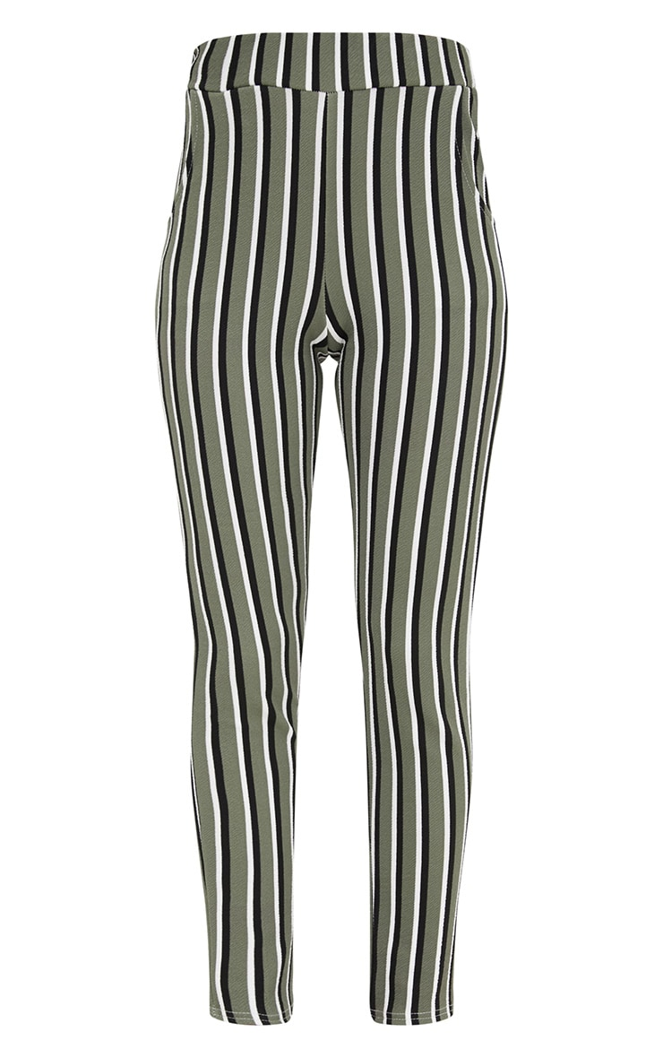 Khaki Vertical Stripe Skinny Trousers 3