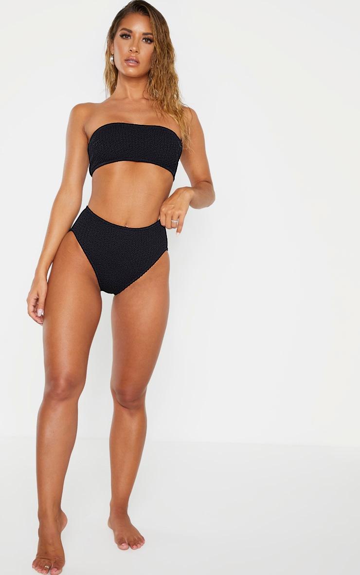 Haut de bikini bandeau noir froncé 4