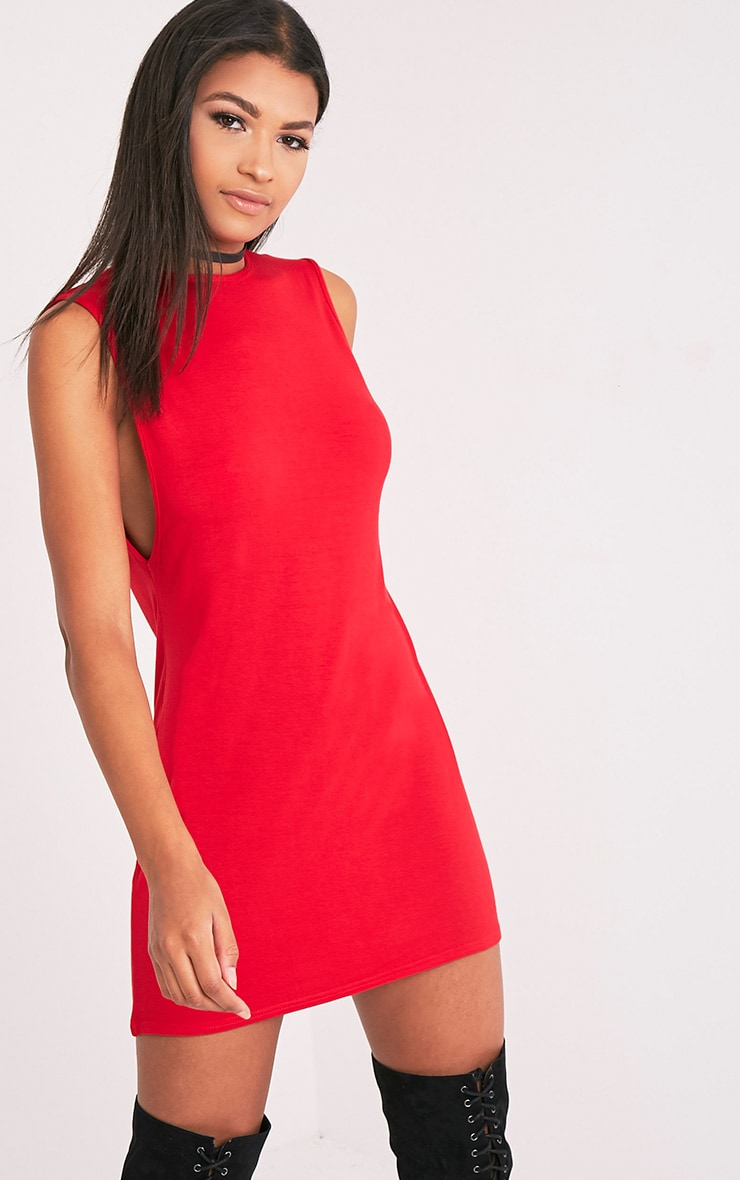 Maddy Red Drop Armhole Sleeveless T-Shirt Dress 4