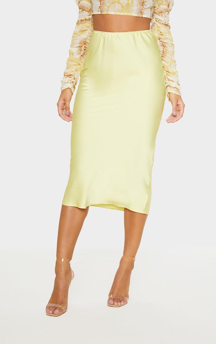 Pale Yellow Satin Midi Skirt  2
