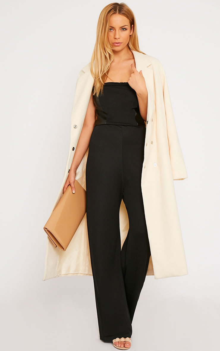 Cilla Black Bandeau Leather Panel Wide Leg Jumpsuit 3