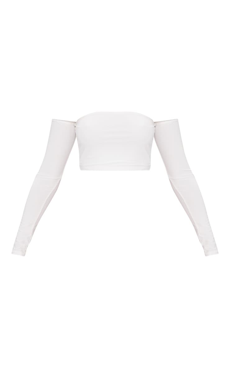White Slinky Bardot Long Sleeve Crop Top  3