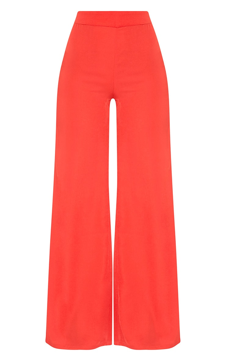 Red Wide Leg Suit Trousers 3