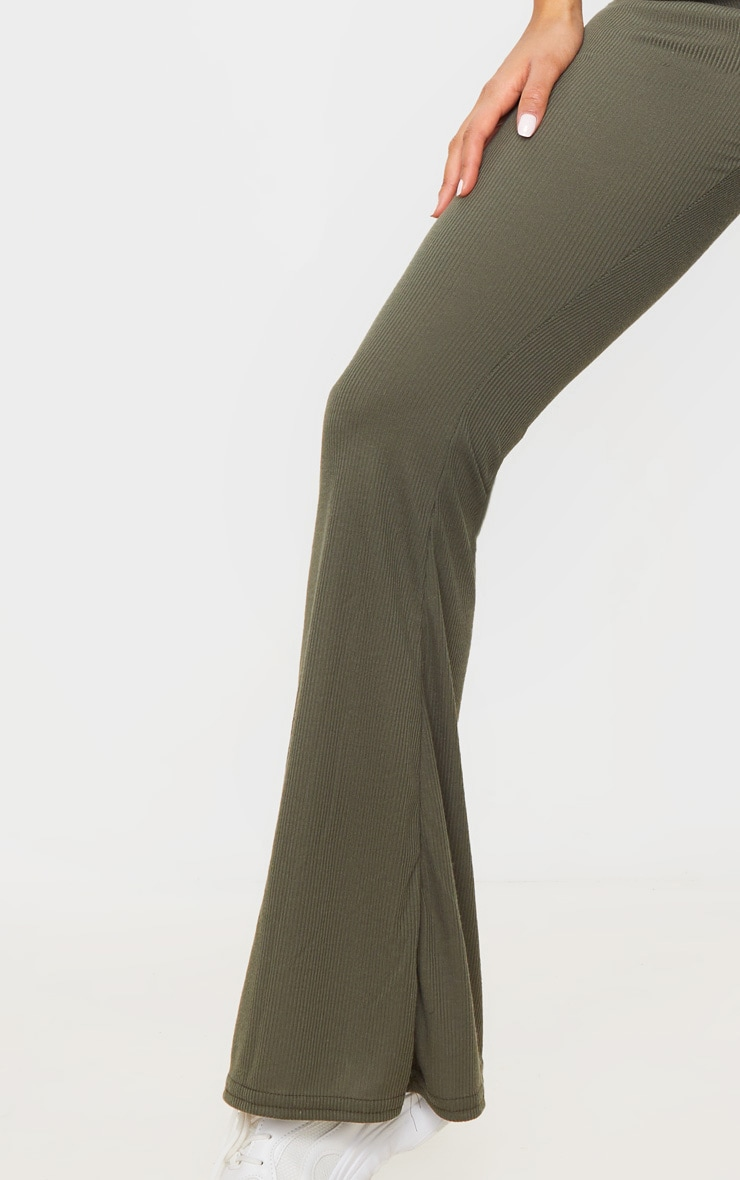 Khaki Ribbed Flared Pants 4