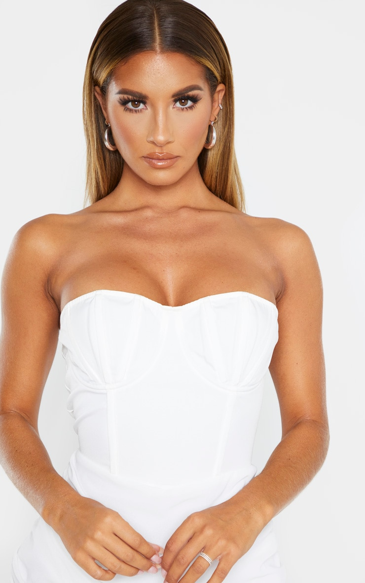 White Bandeau Binded Cup Detail Ruched Bodycon Dress 6