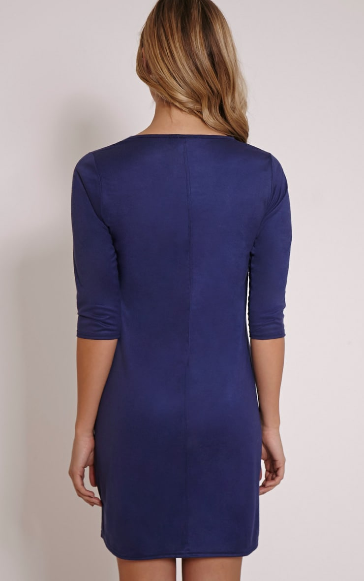 Kasie Navy Faux Suede Stitch Detail Shift Dress 2