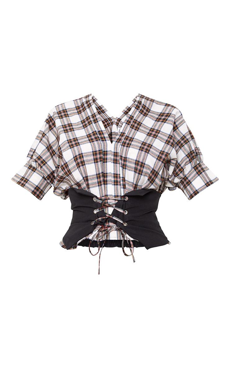 Cream Check V Neck Corset Detail Shirt 3