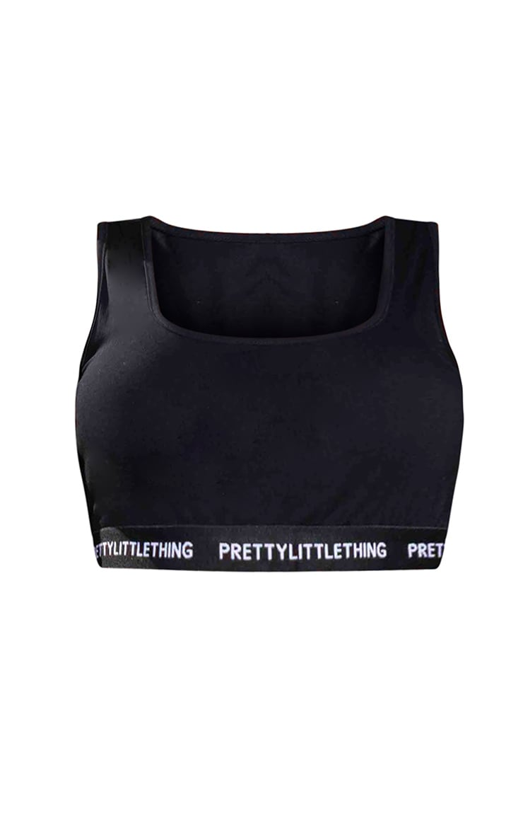 PRETTYLITTLETHING Black Square Neck Crop Top 5