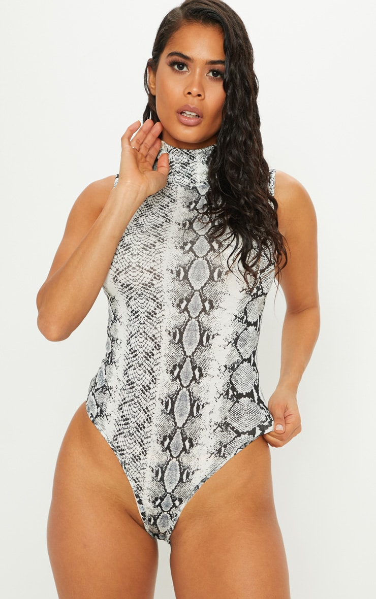 Grey Snake Print Roll Neck Sleeveless Bodysuit 2