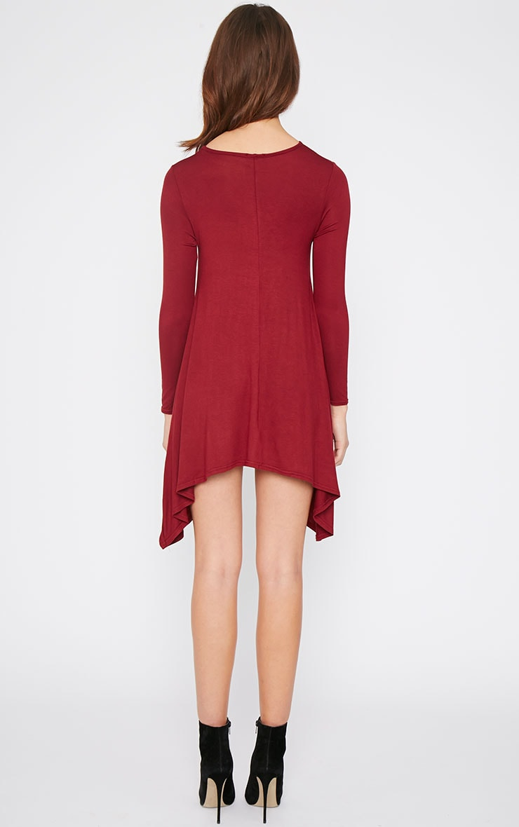 Basic Burgundy Swing Dress 2
