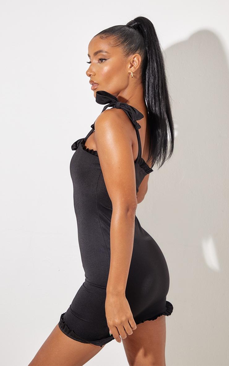 Black Frill Tie Shoulder Bodycon Dress 3