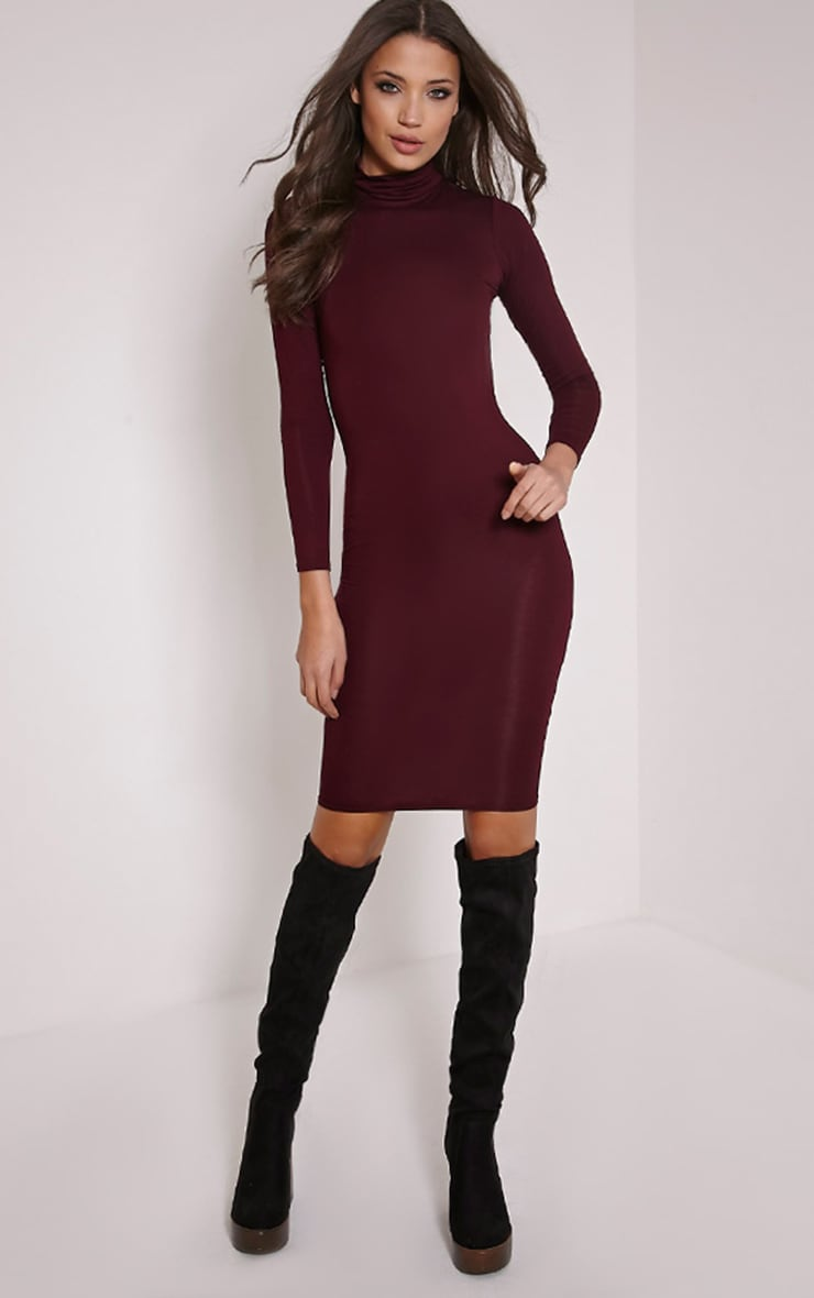 Basic Plum Roll Neck Midi Dress 1