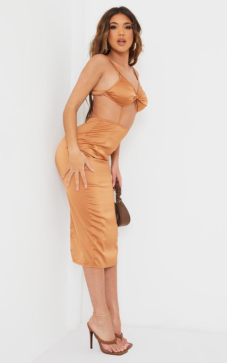Chocolate Strappy Bralette Detail Cut Out Midi Dress 3