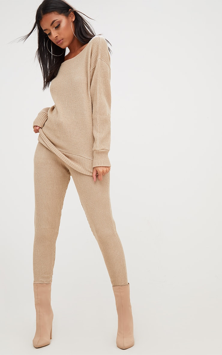 Stone Ribbed Knitted Lounge Tracksuit 4