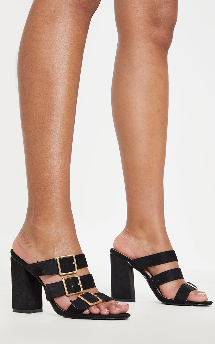 Black Triple Strap Buckle Mule Sandal 1