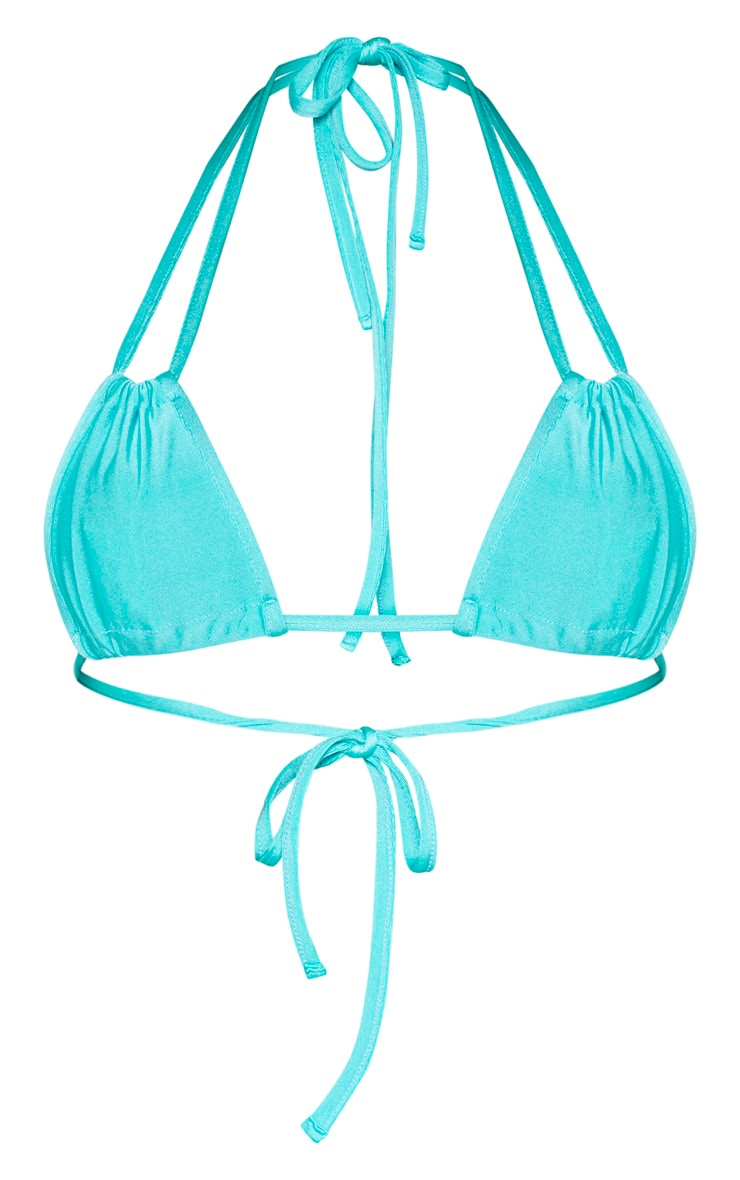Turquoise Halterneck Mini Ruched Triangle Bikini Top 3