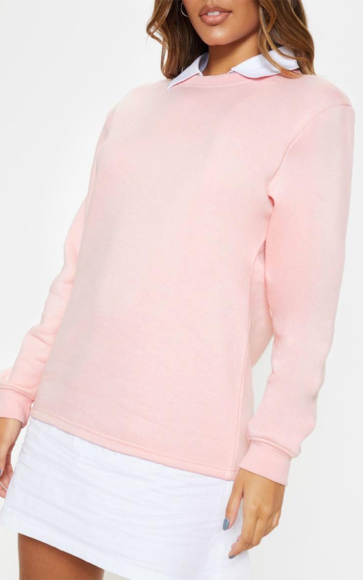Baby Pink Shirt Collar Sweat Jumper Dress 5