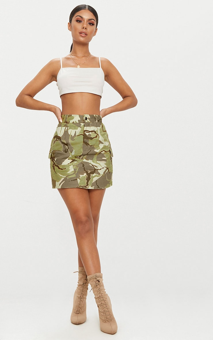 Khaki Camo Cargo Mini Skirt 5