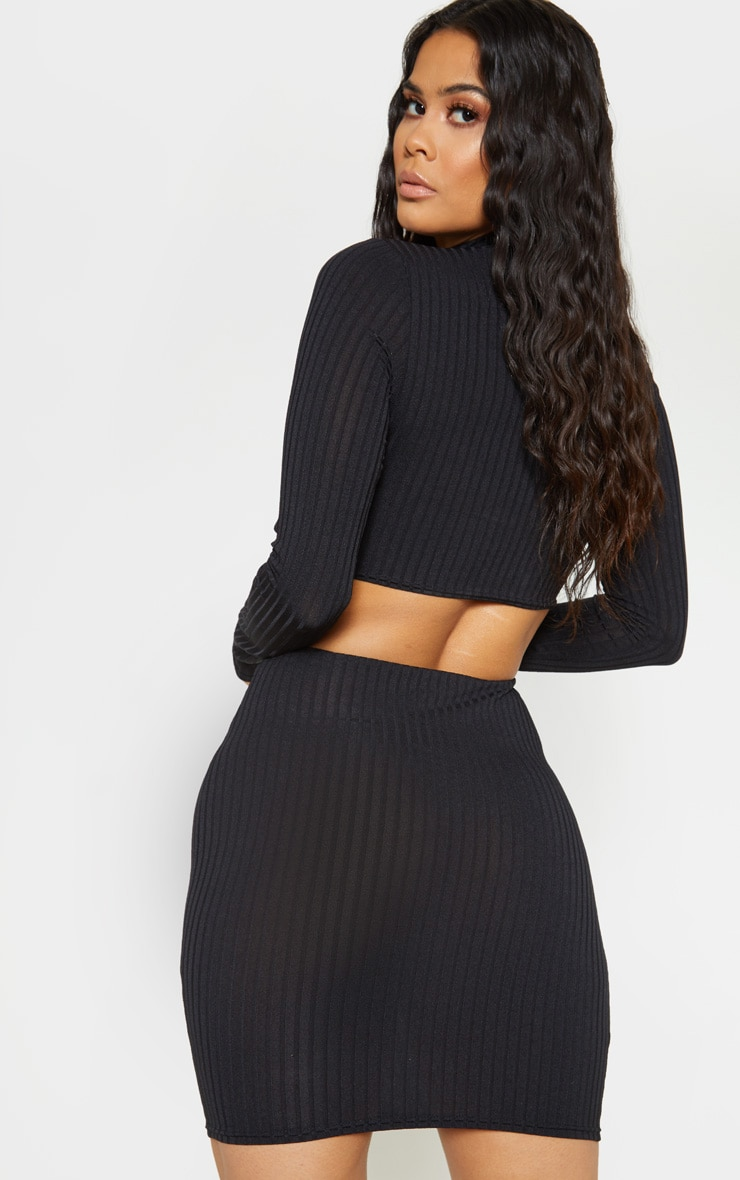 Black Ribbed High Neck Ring Detail Bodycon Dress 2