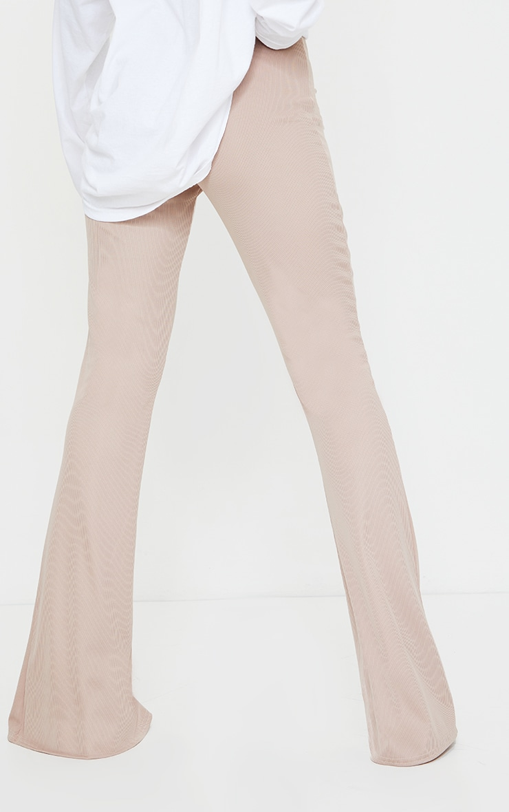 Taupe Rib Split Hem Flared Pants 3