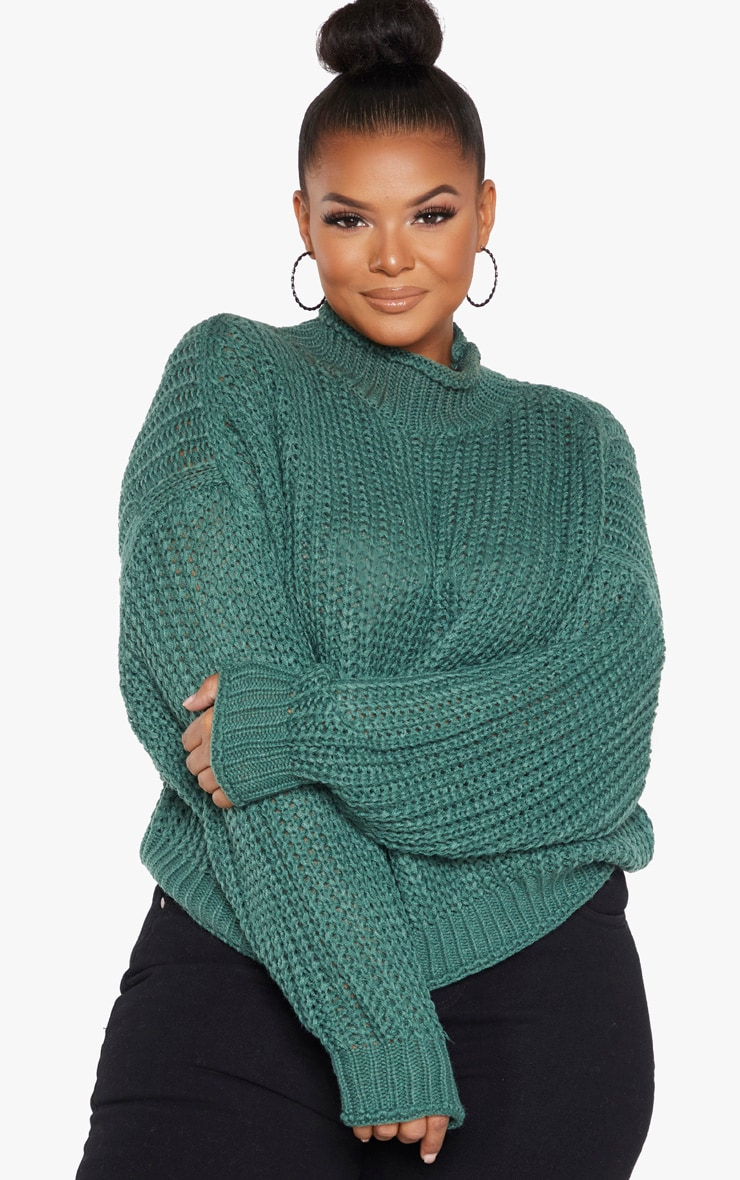 Plus Green Chunky Knit Oversized Jumper  by Prettylittlething