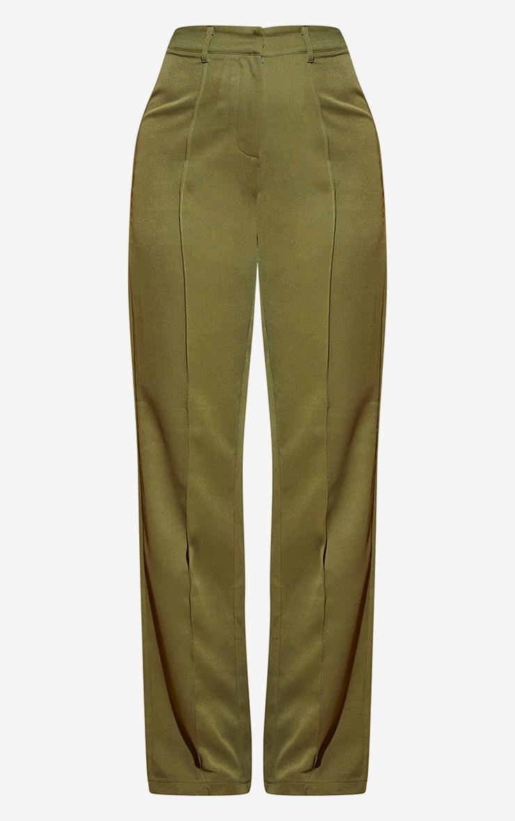 Khaki Wide Leg High Waist Trouser 3