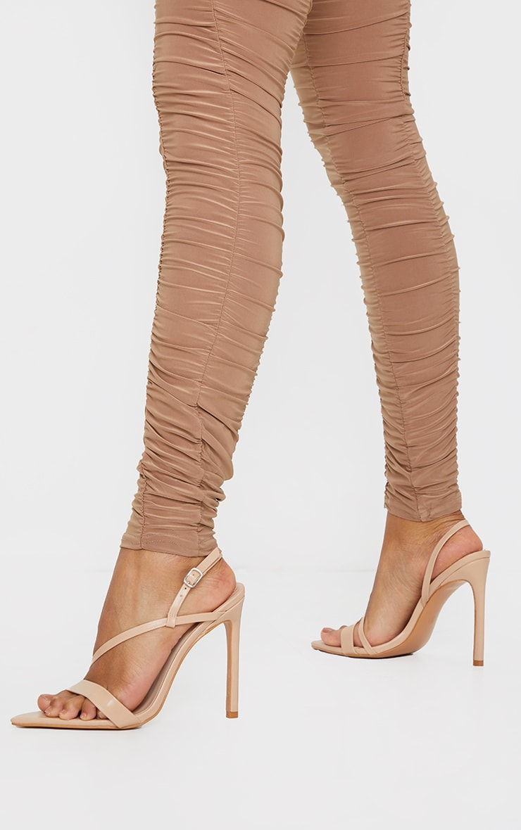 Nude Wide Fit Asymmetric Strap Point Toe Heeled Sandal 2