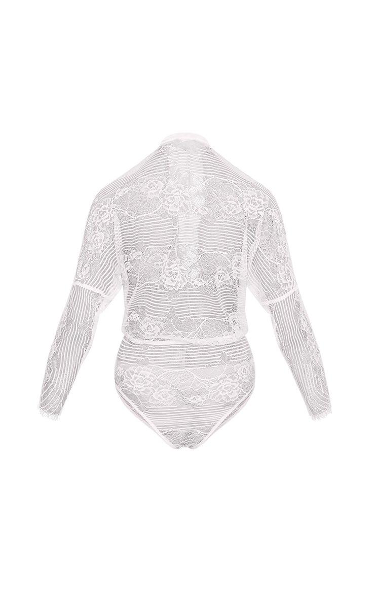 Aiden White Lace Drawstring Longsleeve Thong Bodysuit 4