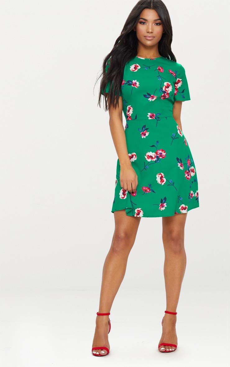Emerald Green Floral Frill Back Tea Dress 4