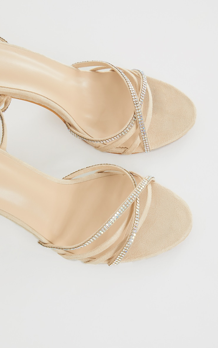 Nude Faux Suede Strappy Lace Up Diamante Heels 4