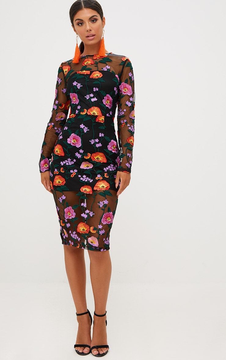 Orange Embroidered Floral Sheer Lace Midi Dress 1