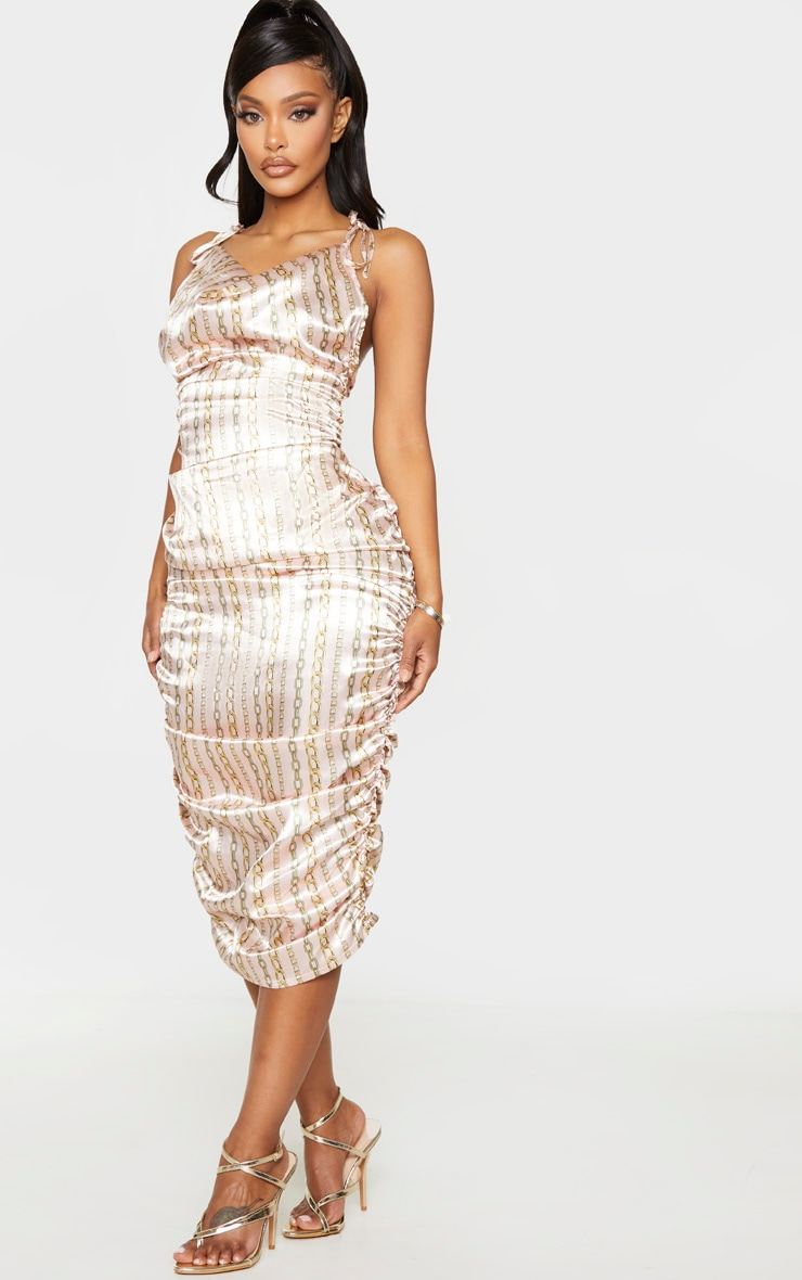 Shape Gold Satin Chain Print Halterneck Ruched Midi Dress 4