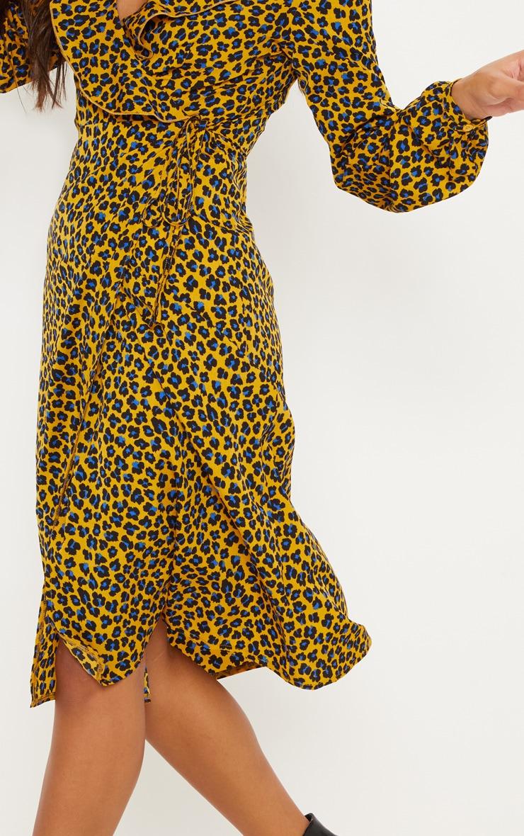 Mustard Leopard Wrap Midi Dress 5