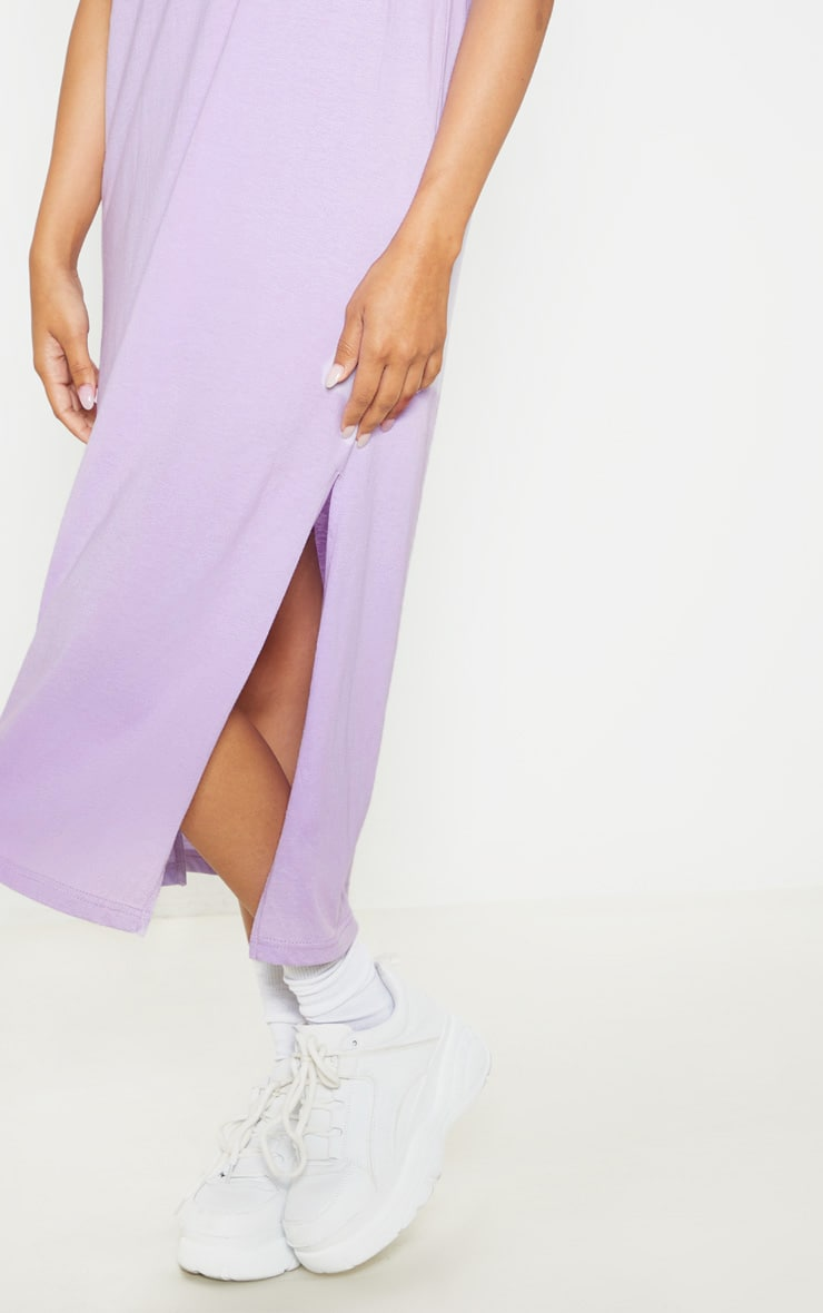 Lilac Split Side Midi T Shirt Dress 5