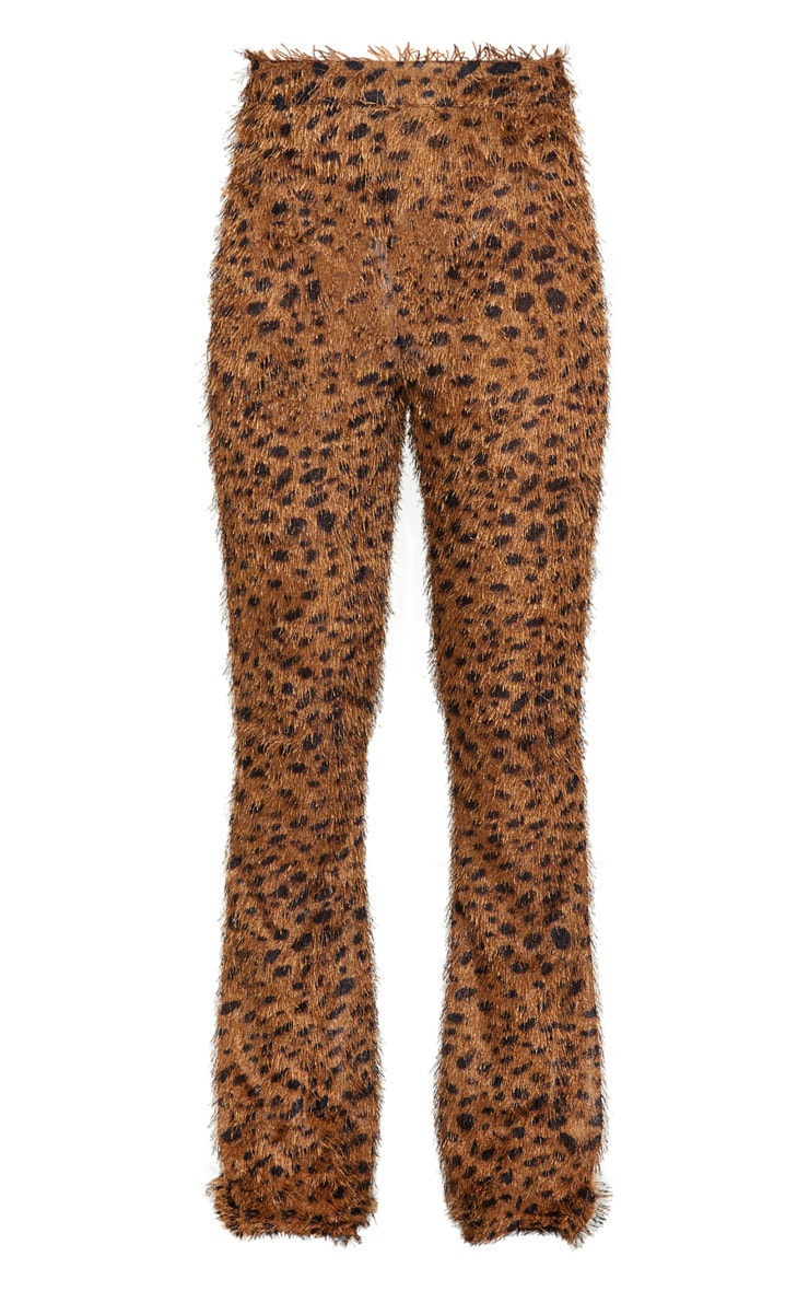 Brown Leopard Print Eyelash High Waisted Flared Pants 5