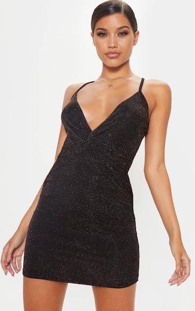 Black Strappy Cross Back Textured Sheer Glitter Bodycon Dress