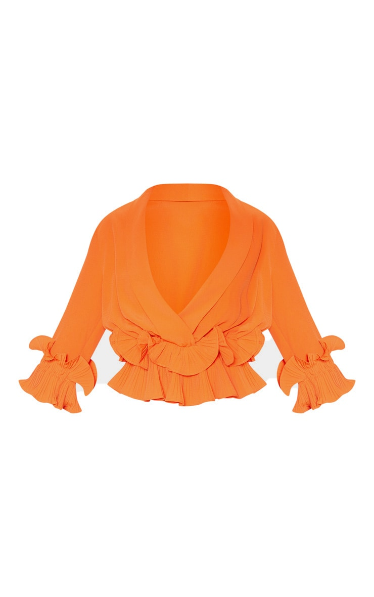 Orange Frill Detail Pleated Blouse 3