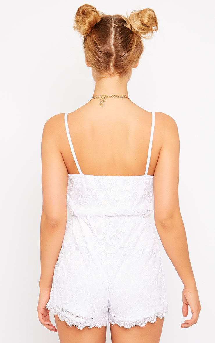 Riva White Lace Wrap Playsuit 2