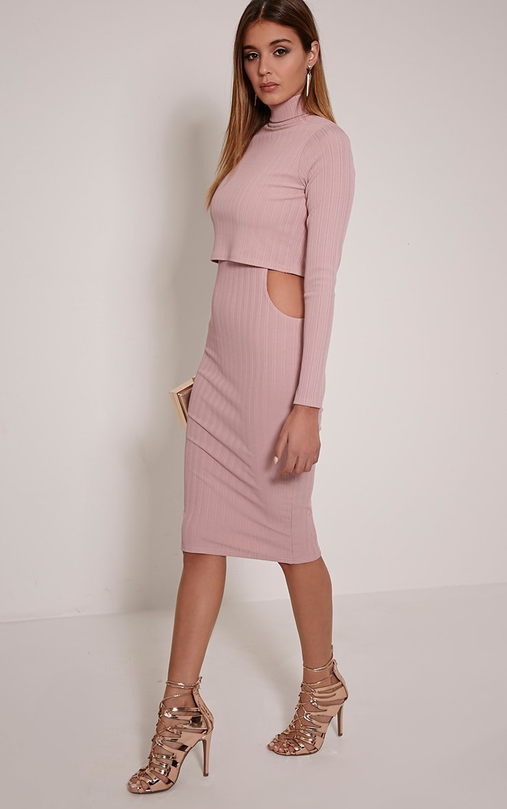 Alma Mauve Ribbed Cut Out Long Sleeve Midi Dress 3